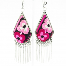 Pink Flowers Embroidered Earrings