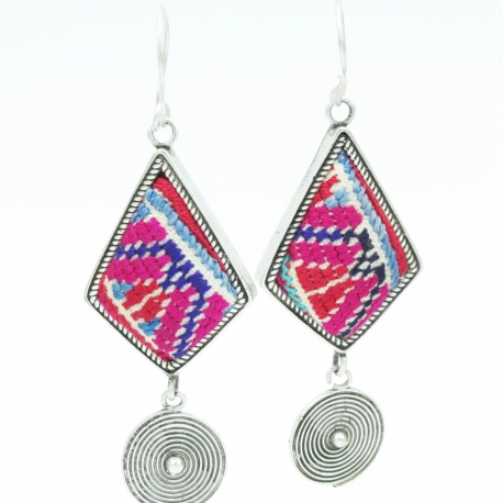Hmong Fuschia Earrings