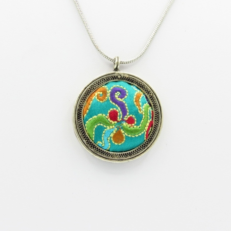 Pendentif Rond Turquoise