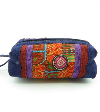 Trousse patchwork à stylos bleue