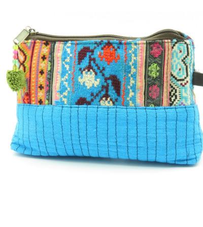 Trousse turquoise patchwork et chanvre