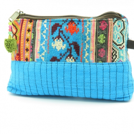 Turquoise patchwork and hemp case