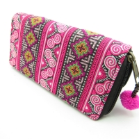 Fuschia Embroidered Continental Wallet