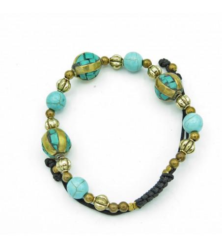 Bracelet Fantaisie Boules Turquoise