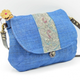 small bag blue embroidery