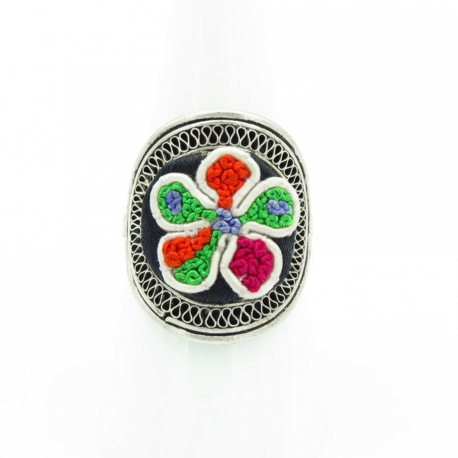 Embroidered Flower Ring