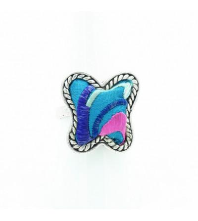 Bague papillon bleu