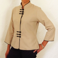 Chemise col mao 6 boutons beige